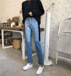 PLAMTEE Cuffs Vintage Jeans Women Panelled Korean Straight Denim Pants High Street Loose Warm Jean Trousers Source by casual Denim Pants, Cropped Jeans, Trousers, Women's Pants, Adidas Pants, Blue Pants, Ankle Pants, White Pants, Harem Pants