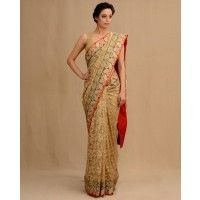 Golden Lace Sari with Floral Zari Work