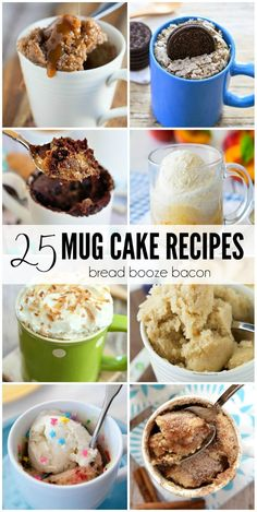 These 25 Mug Cake Recipes are perfect little, single-serving desserts for any occasion. They are guaranteed to cure your cake cravings! #BreadBoozeBacon #cake #mugcake #easyrecipes Microwave Mug Recipes, Mug Cake Microwave, Microwave Desserts, Microwave Cookies, Microwave Food, Single Serve Desserts, Single Serving Recipes, Single Serve Cake, One Serving Cake Recipe