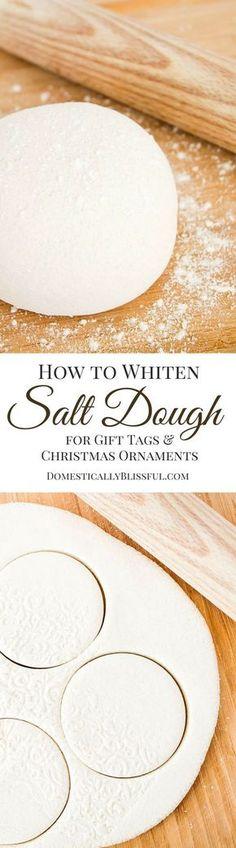 DIY White Salt Dough for Christmas Ornaments and Gift Tags