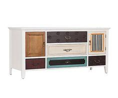 Mueble de televisión en madera de paulownia Christian - blanco y multicolor