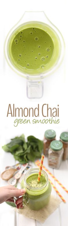 Get your veggies first thing in the morning with this vegan Almond Chai Green Smoothie. The perfect breakfast recipe to kickstart your day that's protein-packed and ready in minutes. (healthy smoothies for breakfast recipes) Healthy Green Smoothies, Green Smoothie Recipes, Breakfast Smoothies, Fruit Smoothies, Breakfast Recipes, Green Smoothie Vegan, Simple Smoothies, Detox Breakfast, Breakfast Club