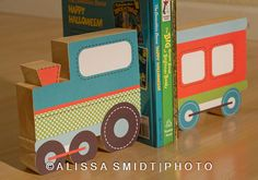 Custom Designed Wooden Train Bookends - Custom Created To Coordinate With…
