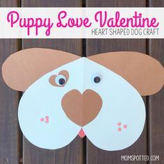 These Puppy Love Valentine's are the perfect heart shaped dog craft for kids! It makes for a fun puzzle craft or even a teachers card!