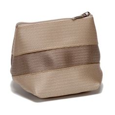 Recycled Seatbelt Small Cosmetic Bag in Two-Tone Tan