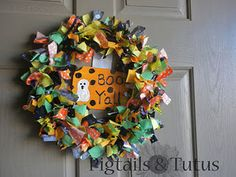 "Halloween rag wreath - Says ""Boo Y'all"" - ""Boo Ya"" would also be cute"