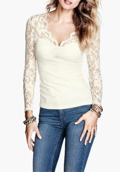 White Plain V-neck Long Sleeve Wrap Lace T-Shirt