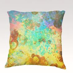 TO THE MOON Fine Art Velveteen Throw Pillow Cover 18 x 18 Abstract Green Turquoise Cerulean Lime Space Modern Galactic Home Decor Painting on Etsy, $75.00