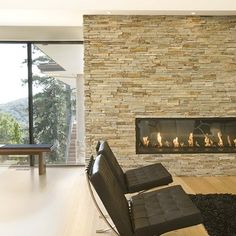 Slate Wall Living Design Ideas, Pictures, Remodel and Decor