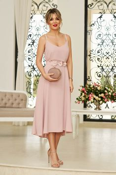 StarShinerS rosa occasional midi dress from veil fabric with v-neckline with straps accessorized with tied waistband Baptism Dress, Dress Cuts, Bridesmaid Dresses, Wedding Dresses, Special Occasion Dresses, Size Clothing, Veil, New Dress, Dress Outfits