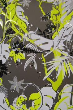 Feroz (Yellow Fury on Chrome Mylar) wallpaper designed by Kravitz Design