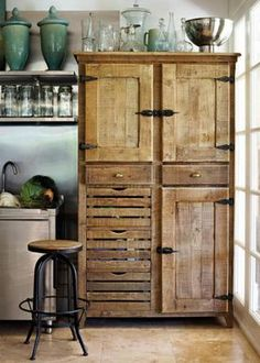 Pallet hutch. Love the hardware and rustic, antique look!