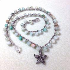 Crocheted Jasper Stone Necklace Starfish Beaded by JewelryCharmers, $28.00