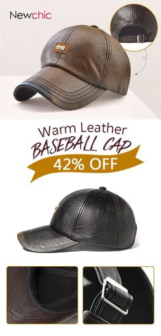 d2be4d67adf2b Men PU Leather Vintage Baseball Cap Casual Outdoor Adjustable Warm  lightness Hats is hot sale on Newchic.