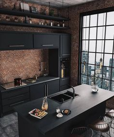 37 Top Kitchen Trends Design Ideas and Images for 2019 Part kitchen ideas; Top Kitchen Trends Design Ideas and Images for 2019 Part kitchen ideas;Home Wall Ideas Home Decor Kitchen, Kitchen Interior, Home Interior Design, Diy Home Decor, Black Kitchen Decor, Interior Ideas, Diy Decoration, Kitchen Colors, City Kitchen Ideas