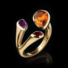 Mousson Atelier - Citrine 2,00 ct., Amethyst &  Pink Tourmaline  in 18k Yellow Gold