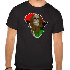 Africa Skull T-shirts. Brown African Skull with dreadlocks and the continent of Africa in the background