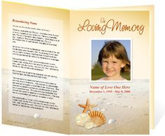 Hawaiian Themed Funeral Service Bulletins Program Templates With