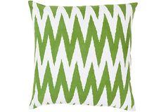 Bite Cotton Pillow, Green on OneKingsLane.com