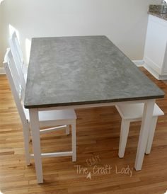 Painted Furniture | Does your dining table need a little TLC? Why not make it over with a concrete top inspired by Crate & Barrel?!?