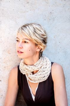 Ivory Crocheted Scarf  Lacy Beige Snood  Sand Color by yarnNclay, $45.00