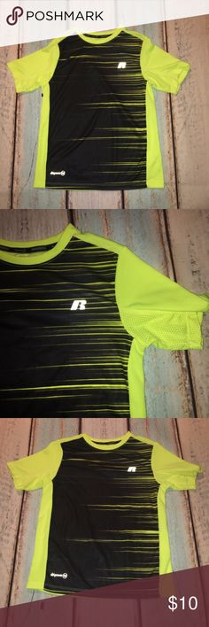 Boy's Short Sleeve Dri-Fit Athletic Shirt Boy's Short Sleeve Dri-Fit Athletic Shirt by Russel Athletics. EUC. Black & Neon Yellow. Size 8/M. Russell Athletic Shirts & Tops Tees - Short Sleeve
