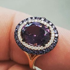 The newest version of our popular purple spinel, diamond and alexandrite duet ring in an oval shape set in rose gold. Diamond Jewelry, Gold Jewelry, Jewelery, Jewelry Accessories, Fine Jewelry, Women Jewelry, Fashion Jewelry, Rose Gold Stackable Rings, Antique Jewelry
