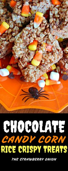 These easy homemade Chocolate Candy Corn Rice Crispy Treats take the traditional treat and turn it into a festive, scrumptious, perfectly sweet dessert that will complete any Halloween Party menu hassle free. These crispy squares are coated with a little chocolate and filled with chunks of candy corn the perfect combination. Ab easy recipe you can make quickly and fill your home with the Halloween spirit!