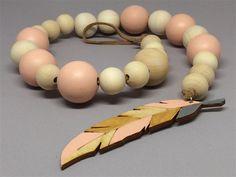Pink Wood Feather Drop Garland wooden bead garland, decor, nursery