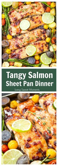 This delicious & easy Salmon Sheet Pan Dinner recipe is made in 30 minutes or less and has a sweet tangy sauce. Served with potatoes, asparagus, & tomatoes. #ad #MomBlogTourFF