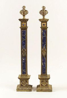 A PAIR OF ITALIAN NEOCLASSICAL GILT-METAL AND LAPIS LAZULI C
