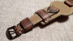 18 mm.Handmade military style leather and canvas bund watch strap. #Handmade