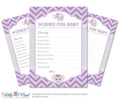 Purple Elephant Wishes for Baby Well Wishes by adlyowlinvitations, $5.00