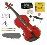 GRACE GV40RD 18 Size Solid Wood Hand Made Ebony Fitted Red Violin with Hard Case2 Sets of Strings2 Bridges2 BowsShoulder RestMusic StandMetro TunerRound Rubber MuteRosin ** Click image for more details.Note:It is affiliate link to Amazon.
