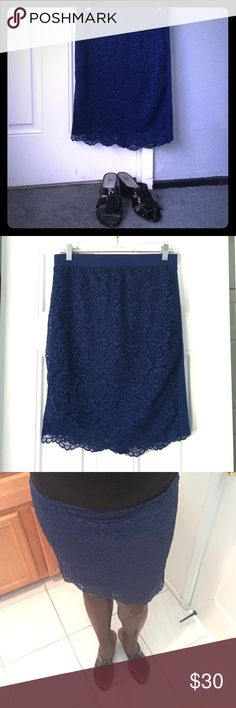 🎉HP SALE🎉 The Prettiest Blue Lace Skirt! This pretty blue lace skirt is perfect for an evening wear and will get you tons of compliments! It's 22inches in length and 15inches in width and a size medium. It has a zipper in the back and elastic waist. It is form fitting and can be adjusted to go above or below the knee. The only area that is not lace is the side which you can see in the picture. Let me know if you're interested! Forever 21 Skirts