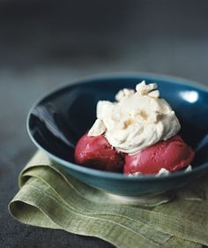 Raspberry Sorbet With Whipped Cream and Meringues: Turn raspberry sorbet into a full-fledged dessert with freshly whipped cream and meringue crumbles.