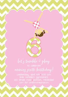 Gymnastics Birthday Party Invitation by pisforpartypapers on Etsy