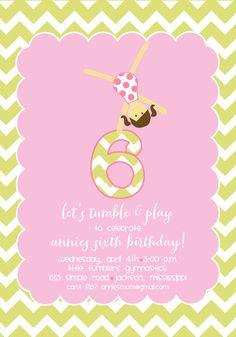 gymnastics birthday party invitation by on etsy