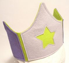 Wool felt playcrown- lavender and lime rock star