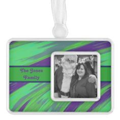 Customized photo and words Christmas Ornament Green Blue #zazzle #holiday #gifts