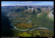 Aerial view of meandering Alatna river in mountain valley. Gates of the Arctic National Park, Alaska, USA.