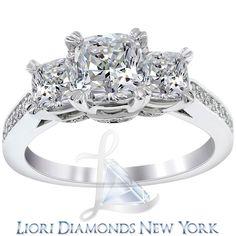3.35 Carat F-VS2 Three Stone Cushion Cut Diamond Engagement Ring Set In Platinum