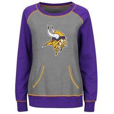 Minnesota Vikings Majestic Women's Overtime Queen Crew Neck Sweatshirt - Gray/Purple - $54.99