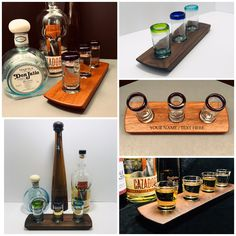 Unique handmade gifts - Pens, whisky flights, & more. by PRWoodworks Tequila Tasting, Tequila Bar, Whisky Tasting, Tequila Shots, Personalised Whisky, Personalised Gifts For Him, Bars For Home, Distillery, Liquor
