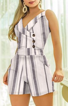 Sleeveless Striped Buttoned Design Romper – bodyconest printed romper,outfit romper,romper and tights,romper casual Trend Fashion, Summer Fashion Outfits, Fashion Dresses, Casual Outfits, Casual Jeans, Spring Outfits, Latest Fashion, Womens Fashion, Chor