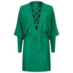 Balmain Lace-Up Batwing Sleeve Dress (£1,908) ❤ liked on Polyvore featuring dresses, balmain dress, lace up dress, v-neck dresses, lace up front dress and green v neck dress