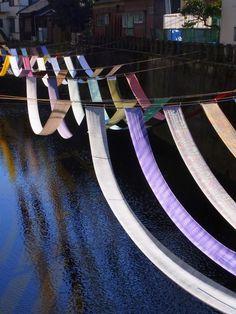 Kimono Textiles over Myoshoji River, Tokyo, Japan 染めの小道