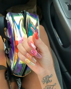Jelly Nails Gorgeous Nails, Pretty Nails, Jelly Nails, Rainbow Nails, Rainbow Colors, Clear Nails, Bridal Nails, Dope Nails, Nail Inspo