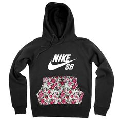 8dbff16bfaf1 Image of Authentic customised Nike SB Unisex Embroider hoodie with floral  chic pouch