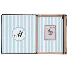 Striped Blue Custom Monogram iPad case DODOcase Covers For iPad